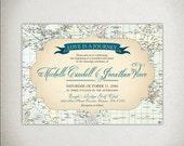 INVITATION Wedding Invites / Wedding Printable Vintage Travel Map Invites - Love Is a Journey, teal blue cream pastel - custom DIY