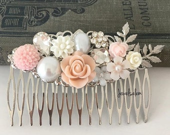 Silver Pink Wedding Hair Comb Blush White Bridal Comb Flower Headpiece Romantic Hair Clip Shabby Chic Whimsical Vintage Style Hair Slide