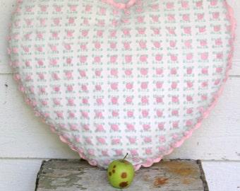 Cottage Lovers!  Sweet Large Rosebud Heart Shape Throw Pillow