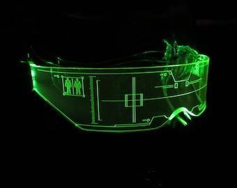 The original Illuminated Cyber goth visor Citadel Neon Green