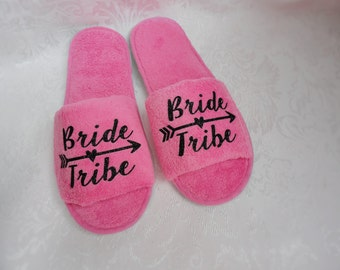 Bride Tribe slippers party favor gift ; Bride's Tribe; Bridesmaid Gift; Bachelorette Party Gift ; Arrow ; Bride's Side ; Team Bride