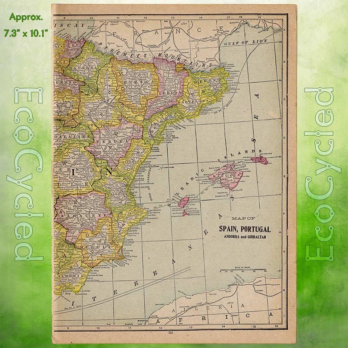 Vintage Atlas Map Germany Antique Map Full Color World Atlas - Germany map full