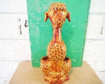 Poodle lipstick caddy make up storage dressing table decor mid century vintage dog glam holder ceramic