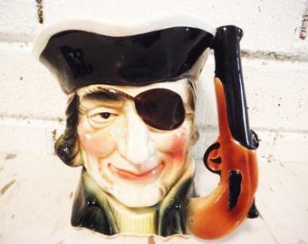 Vintage shabby pirate  pencil cup beer stein eye patch gun handle high seas beach decor office  cubicle
