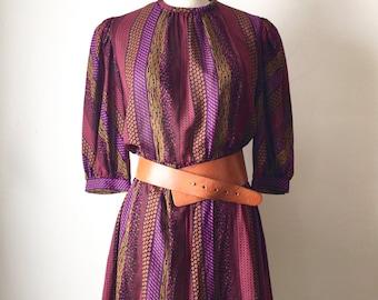 Vintage Burgundy Striped Pattern Dress