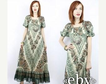 Vintage Hippie Dress Vintage Hippy Dress Vintage Boho Dress 70s Maxi Dress Vintage 70s Floral Maxi Dress XXS XS Festival Dress