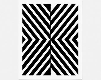 Black and White Abstract Geometric Art Print - Modern Nursery Artwork - Vertical 5x7, 8x10, 11x14 Wall Art for Office, Living Room