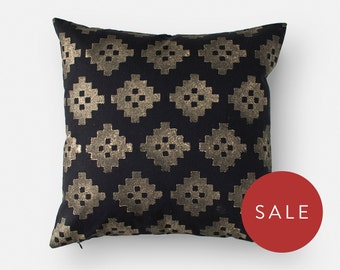 Decorative Pillow Cover - Black and Gold Throw Pillow - Block Print 16x16 Cushion Cover - Modern Sofa Pillows