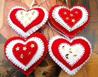 Handmade 4 Felt Heart Ornaments with stars and moon set of 4 Valentines day Christmas Wedding