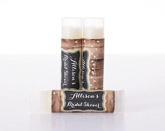 Vintage Wedding Favors - 25 Lip Balm-Chapstick Stickers and Lip Balm Tubes - Bridal Shower Favors - Wedding Lip Balms