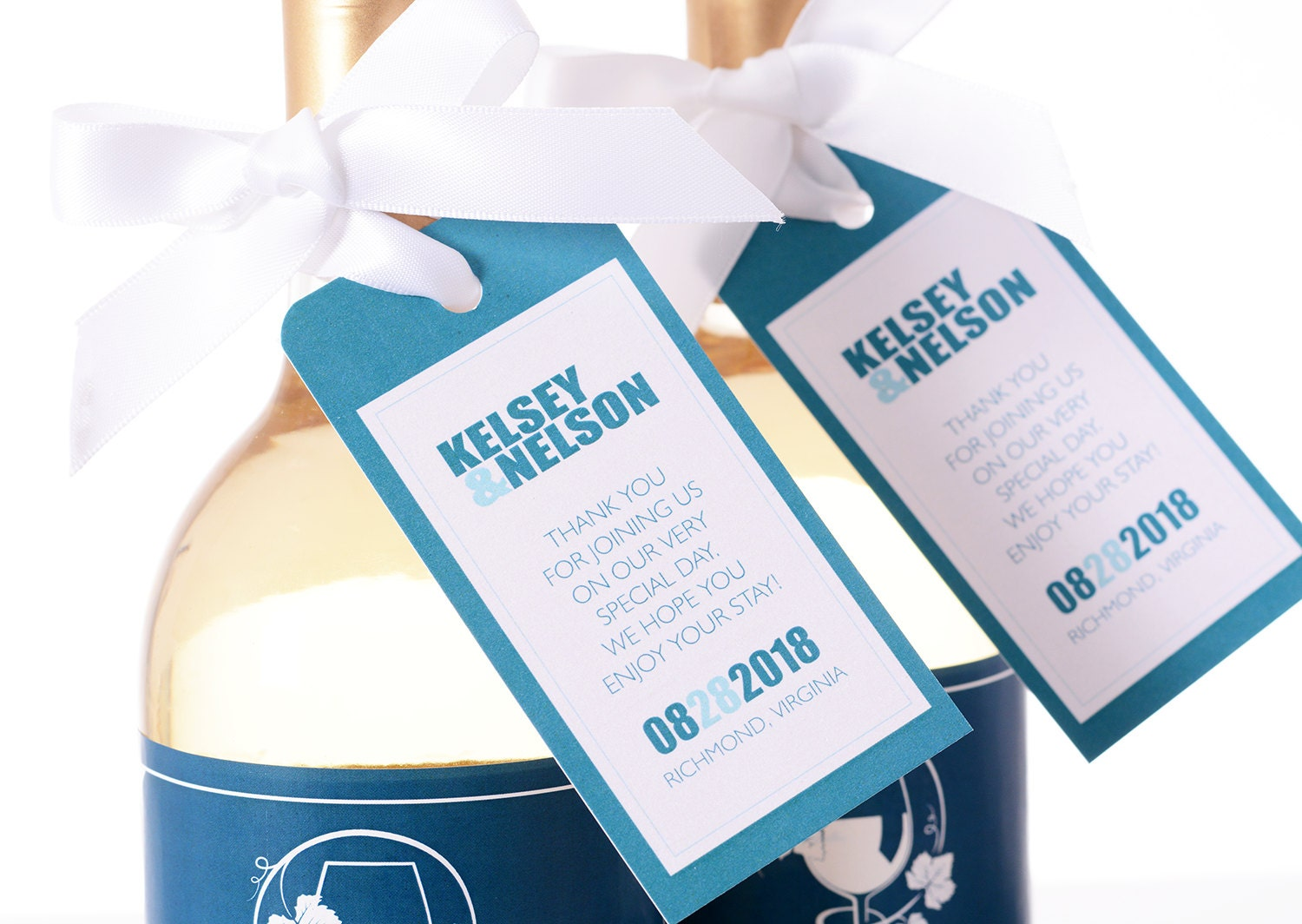 Modern Flair Wedding Tags Wine Bottle Tags Favor Box Tags