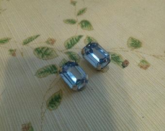 Blue Rhinestone Emerald Cut Clip Earrings