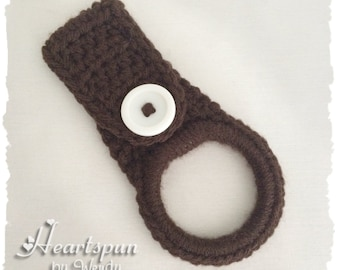 Brown dish towel or hand towel ring holder, great for holding towels and more in the kitchen, bathroom, garage, laundry, nursery, etc