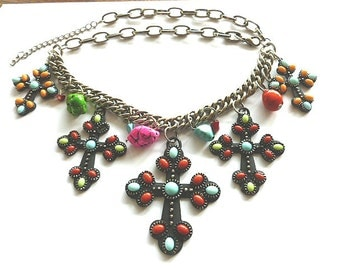 FIVE CROSSES Statement Necklace, Turquoise & Coral Cross, Beaded Necklace, Chunky Chain, Beads and Crosses Necklace, Vintage Cross Necklace