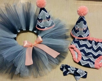 Twin brother sister matching cake smash set, baby boy and baby girl smash cake set gray an navy chevron with peach