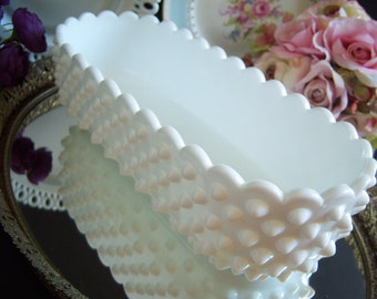 "Fenton Hobnail White Milk Glass Planter - Fenton Hobnail Planter - Fenton Hobnail Milk Glass - Large Milk Glass Planter - 10"" - Milk Glass"