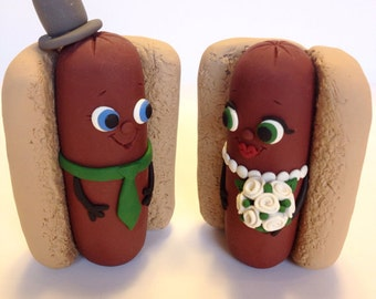 Hotdog Wedding Cake Topper - Choose Your Colors