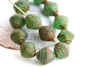 8mm Picasso Green rustic bicones, Czech Glass beads, fancy pressed glass - 15Pc - 0858
