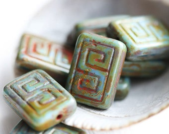 8pc Picasso Rectangle czech beads, Turquoise Blue mixed, Greek Key, Carved Aged rustic glass beads - 12x9mm - 2175