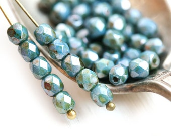 4mm Fire Polished Picasso beads, Blue Lustered czech beads, faceted round beads - 50Pc - 1674