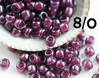 TOHO Purple Seed beads, size 8/0, Inside Color Grey Magenta Lined, N 1076, japanese seed beads - 10g - S696