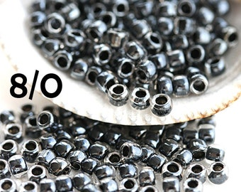 Black Seed beads, TOHO, size 8/0, Inside-Color Crystal Dk Opaque Purple Lined N 344, rocailles - 10g - S776