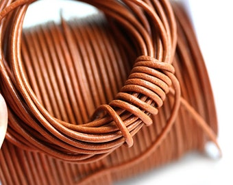 1.5mm Round Leather cord - Cinnamon, Light Brown cord - 10 feet, LC048