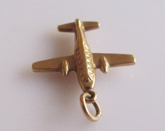 Vintage 9ct Gold Airplane Charm