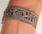 Antique Bracelet Sterling Bracelet Ethnic Bracelet Hinged Bracelet Floral Bracelet Hand Carved