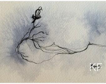 ART - Ink - Hand drawn bird art - BLUE BIRD - Original - Ink Painting - Interior decor - Kylie Fogarty