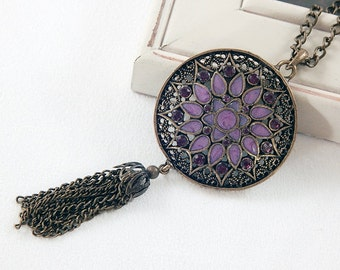 Purple Enamel Flower Pendant Tassel Necklace - Antique Gold - Vintage Style - Long Necklace - Statement Necklace - Gifts under 30