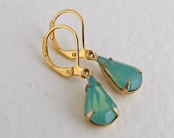 Green Opal Earrings ... seafoam earrings, green earrings, teardrop earrings