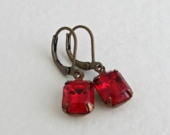 Red Earrings .. red dangle earrings, ruby red, glass jewel earrings, vintage glass