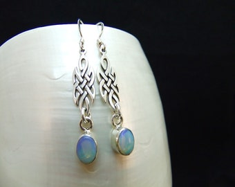 Handmade Ethiopian Opal Silver Earrings