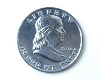 1963 Franklin Half Dollar, fake aluminum coin, USA coin collecting, Benjamin Franklin
