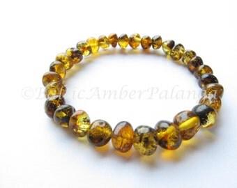 Green Color Baltic Amber Bracelet