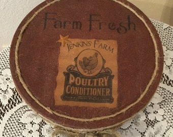 Prim faux rusted cookie tin rooster decor country housewarming cottage chic kitchen decor home Upcycled handmade farm kitchen rooster lover