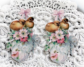 Reneabouquets Vintage Sweet  Baby Chicks  Die Cut Set Choose Your Size, 4 Inch Set Of 2, 3 InchSet Of 3  Scrapbook Embellishment, Fairies