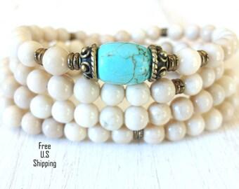 108 Turquoise, Mala prayer Necklace or bracelet, Reiki, Jasper mala, mala, prayer beads, buddhist rosary, wrap, healing mala, turquoise