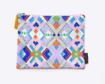 Magic Geometric Canvas Clutch Purse featuring Digitally Printed Abstract Colourful Persian Rug Fabric