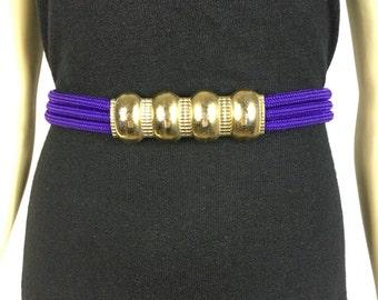 Vintage Belt 70s Gold Buckle Purple Rope Belt Large to Extra Large