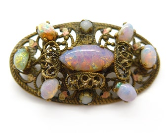 Vintage Art Deco Czech Filigree Opalescent Glass Brooch