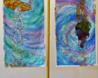 Sacramental Earthly Elements, Hand Painted, Appliqued, Pair of Wall Hangings