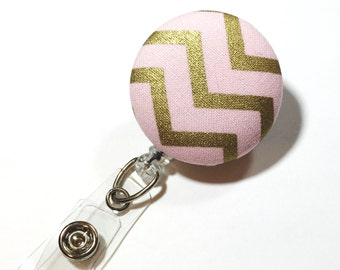 Pink and Gold Badge Reel Retractable ID Badge Reel ID Badge Holder Name Badge Clip Badge Pull Nurse Badge Reel Retractable Badge Holder