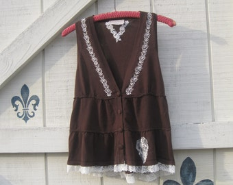 Bohemian vest, XS-S, Brown vest, racer back vest, embroidered vest, lace trimmed vest, upcycled