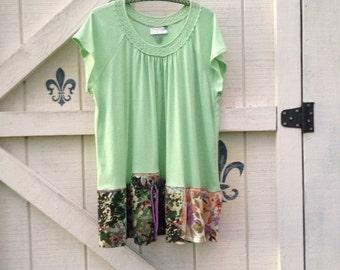 Hippie tunic dress, XXL, upcycled dress, Boho tunic, lime tunic, XXL, rustic clothing