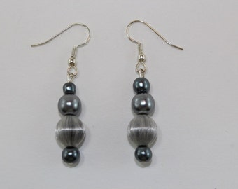 Grey drop earrings with vintage fabric beads