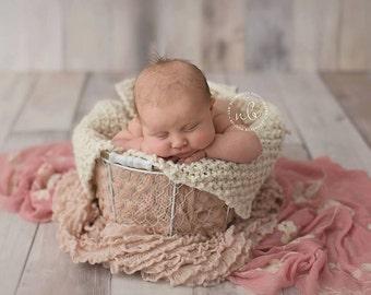 Newborn Baby Blanket,  Cream Blanket, Textured  Blanket, Photo Prop, Choose Your Color