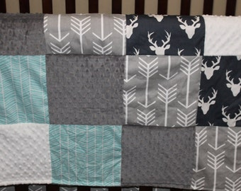 Deer Baby Blanket - Navy Buck, Herringbone, Gray Arrow, White Minky, and Gray Minky Patchwork Baby Blanket