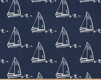 Nursing Pillow Cover - Navy Blue Seaton and Minky Boppy Cover - Nautical, Sail Boat, Sail Away